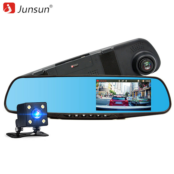 "4.3"" Junsun Rearview Mirror Car DVR with two camera FHD 1080P Video Recorder Dual Lens G-sensor DVR Mirror Automobile Dash cam - ZURBEXPRESS"