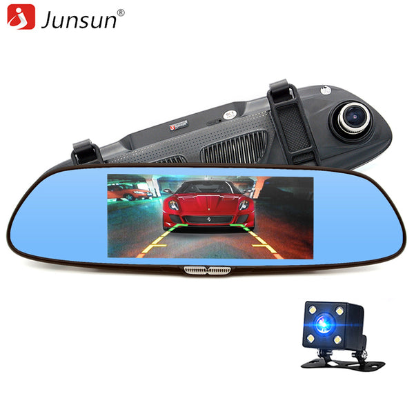 "Junsun 6.5"" Car Rear view mirror with DVR camera Dual Lens Video Recorder 2 Split View Registrator Auto dvrs recorder Dashcam - ZURBEXPRESS"