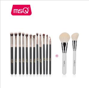 MSQ New 2pcs Big Powder+12pcs Professional Eye Makeup Brushes For Blusher Eyeshadow Blending Lip Eyeliner Goat+Synthetic Hair - ZURBEXPRESS