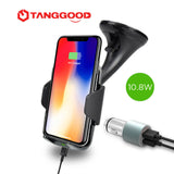 TANGGOOD Qi Wireless Car Charger 10W Fast Charger with Phone Holder for Galaxy S6/S7/S8 iPhone X/8 Plus Free QC3.0 Car Charger - ZURBEXPRESS