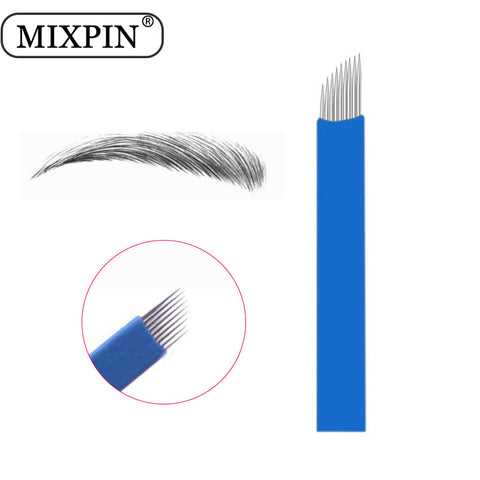 100 PCS Blue Laminas Tebori Microblading 9 Pin Tattoo Needles Permanent Makeup Blade For 3D Eyebrow Embroidery Manual Tattoo Pen - ZURBEXPRESS