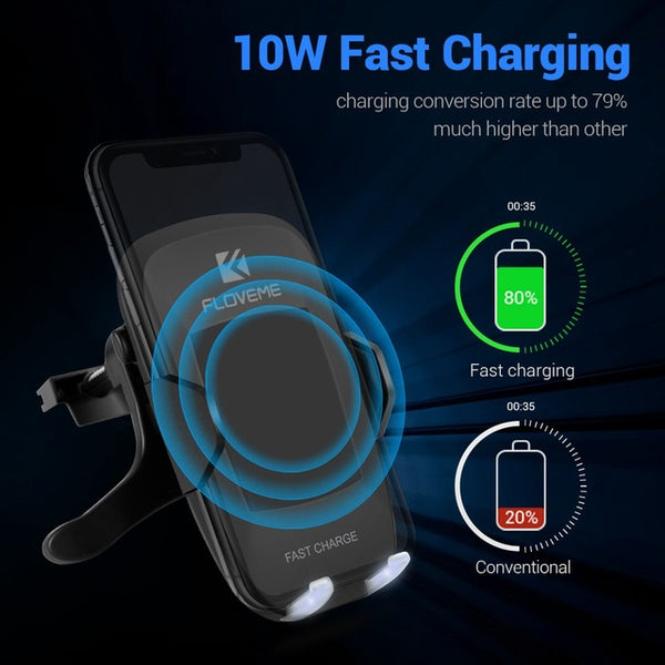 5V/2A Qi Wireless Car Charger For iPhone X 8 Plus 360 Degree Rotation Car - ZURBEXPRESS