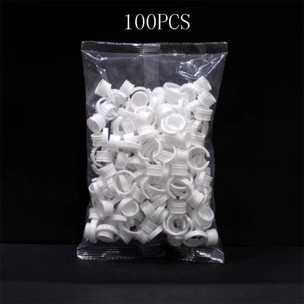 100pcs Disposable Permanent Makeup Ring No Divider Medium Size Tattoo Ink Eyebrow - ZURBEXPRESS