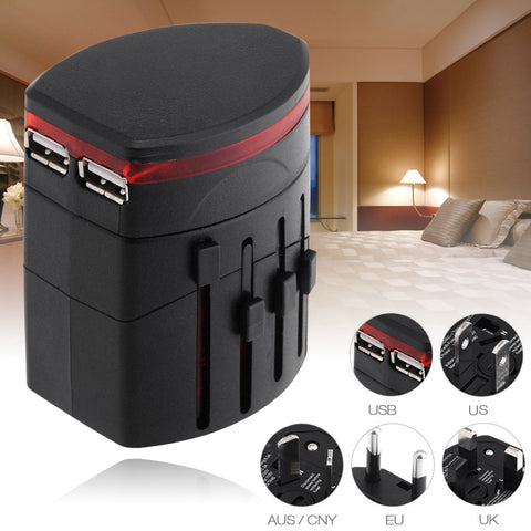 Universal World Power Adapter Professional Dual USB Port Wall Charger Conversion Electrical Plug - ZURBEXPRESS