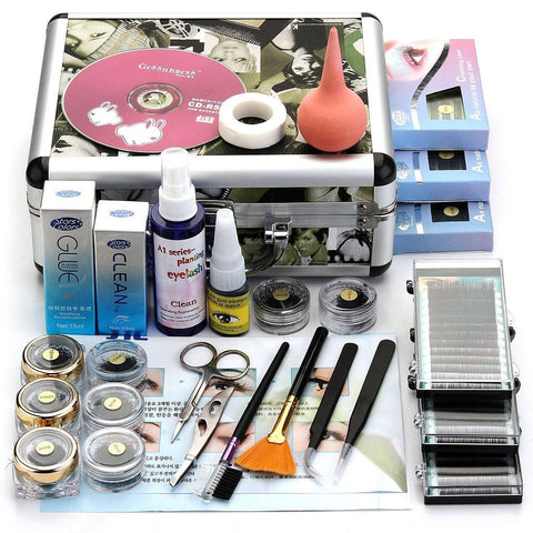Professional False Eyelash Extension Cosmetic Makeup Kit Set with Case Salon Tool Gift - ZURBEXPRESS
