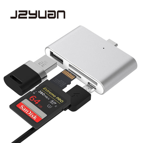 JZYuan 4 in 1 USB C Hub with 2 Slot TF SD Card USB 2.0 Hub OTG Card Reader USB 3.0 HUB For Mobile Phone MacBook Pro Type C Hub - ZURBEXPRESS