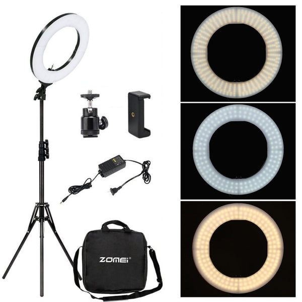 Photographic Studio Ring Light 3200-5600K LED Lighting Phone Adapter Makeup For Live Broadcast Video - ZURBEXPRESS