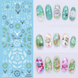 Rocooart DS271 Design Water Transfer Nails Art Sticker Harajuku Rainbow Feathers Nail Wraps Sticker Watermark Fingernails Decals