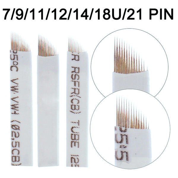 500 PCS Tattoo Needles Agulhas Tebori 14 pins Microblading 12 Flex Curved Blades 9 11 For Permanent Make Up Manual Eyebrow Pen - ZURBEXPRESS