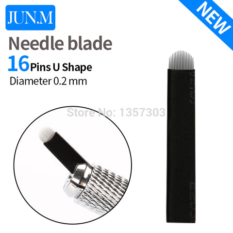 50 Pcs 16 Pin Needle U Shape Eyebrow Microblading For Permanent Makeup Manual - ZURBEXPRESS
