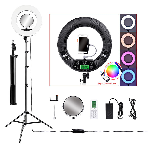 "18"" LED Video Photo Ring Light RGBW Stand Tripod for DSLR Camera Smart phones Professional Studio - ZURBEXPRESS"