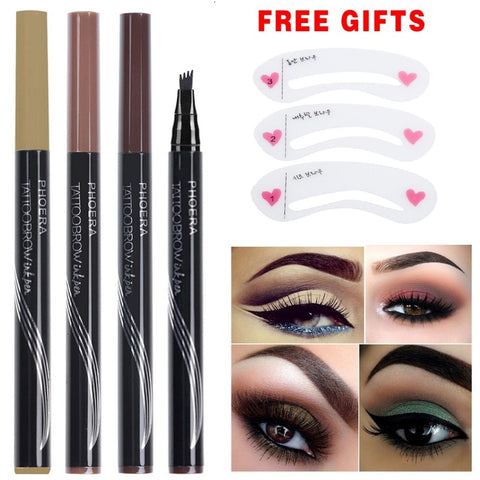 Waterproof Fork Tip Tattoo Pen Fine Sketch Henna Tint Enhancer Liquid Eye Brow Pencil TSLM1