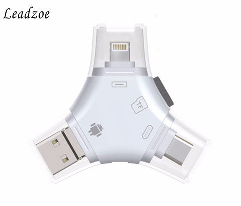 4 in 1 Type c Lightning Micro USB USB 2.0 Memory Card Reader Micro SD Card Reader For Android iPad iPhone 7 plus 6s OTG Reader - ZURBEXPRESS