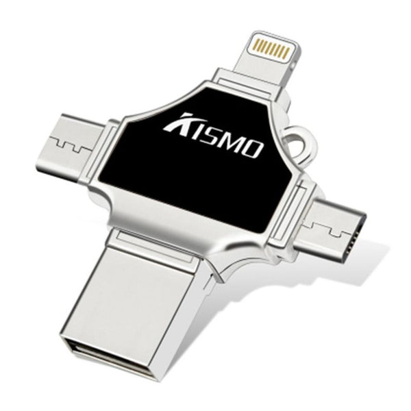 Kismo 4 in 1 USB Flash Drive Mini Memory Stick OTG Pen drive For iphone 6/7/8/X S8 S9 Note 8 Huawei P10 P20 Mate 10 Xiaomi Mi8 - ZURBEXPRESS