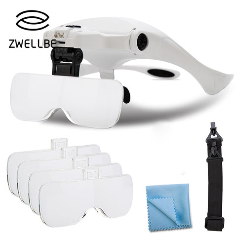 Eyelash Extension 5 Lens Adjustable Headband Magnifying Glass Magnifier With LED Light lamp Magnifying Glasses For False Lashes - ZURBEXPRESS