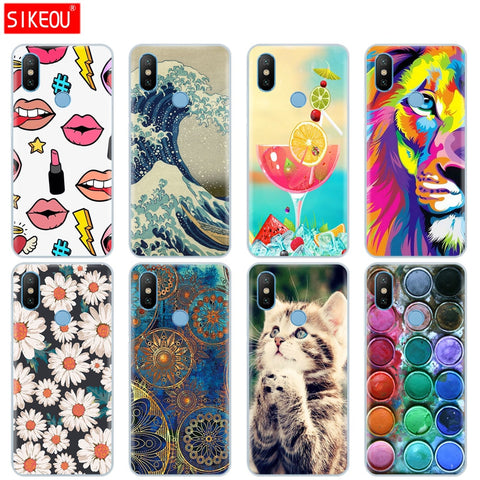 SIKEOU soft silicone TPU case for Xiaomi Mix 2S case cover for Xiaomi Mi Mix 2S Mix 2 S cover flower animal cartoon tiger lion