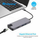 8 in 1 Type C Hub To HDMI 4K Video RJ45 Gigabit Ethernet VGA Adapter USB-C hub SD TF Card Reader for Macbook Pro huawei p20 pro - ZURBEXPRESS