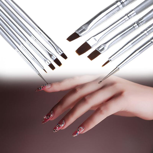 5pcs Nail Art UV Gel Makeup Brushes Fingernail Design Dotting Painting Drawing Pen Polish Brush Set Manicure Nail Tools - ZURBEXPRESS