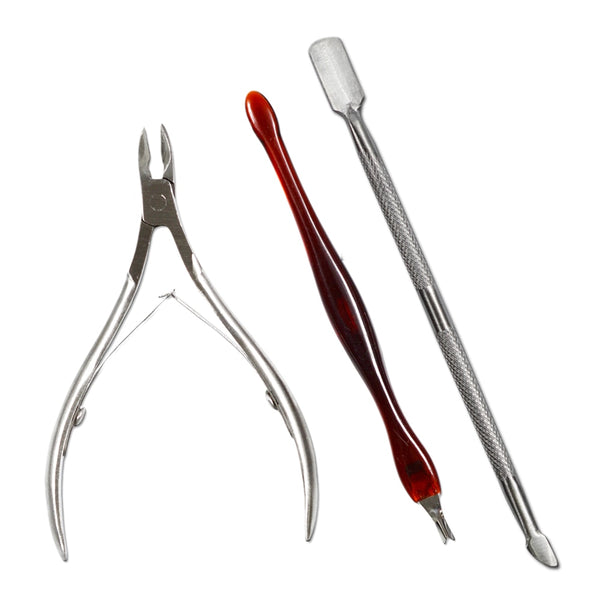 3 Pcs Cuticle Nail Clipper+Cuticle nipper Set Nail Art Tool Dead Skin Fork Trimmer Peeling Knife Cuticle Remover SANC385 - ZURBEXPRESS