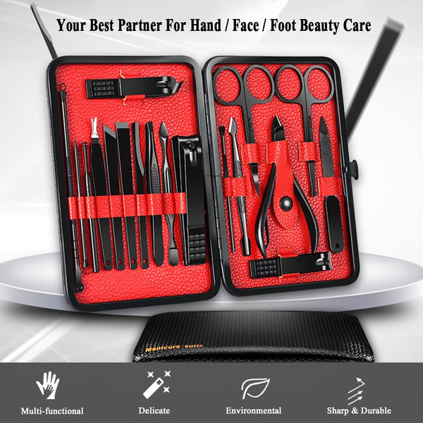 18Pcs Pro Manicure Set Nail Clipper Kit Pedicure Kit Utility Pedicure Scissors Tweezer Knife Ear Pick Nails Art Tools With Case - ZURBEXPRESS