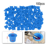 ATOMUS 100pcs Plastic Microblading Tattoo Ink Cup 8mm Diameter Small Permanent Makeup Tattoo Pigment Color Cups Accessories - ZURBEXPRESS