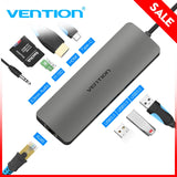 Vention USB-C HUB Type C HUB To USB 3.0 Thunderbolt 3 HDMI 3.5mm Audio RJ45 Gigabit Ethernet Adapter SD/TF Card Reader USB C HUB