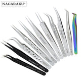 NAGARAKU stainless non-magnetic eyelash extension tweezers eyelash tweezers pincet false eyelash tweezers 3D lash tweezer - ZURBEXPRESS