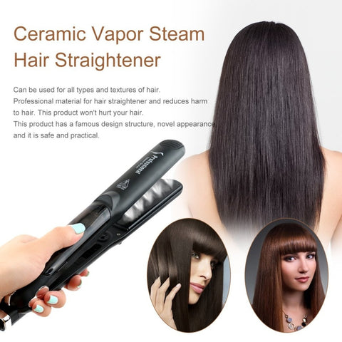 Professional Dual Use Ceramic Vapor Steam Hair Straightener Salon Personal Use Hair Styling Tool Straightener US Plug Selling - ZURBEXPRESS
