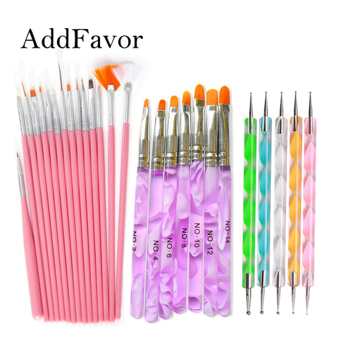 Addfavor 15pcs Acrylic Nail Art Brush Kit UV Gel Polish Painting Drawing Brushes Pen Nail Dotting Manicure Clean Brush Tools - ZURBEXPRESS