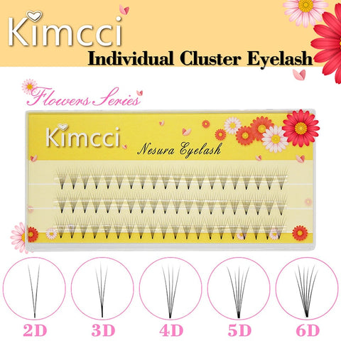 Kimcci 2D/3D/4D/5D/6D Professional Individual Cluster Eyelashes Extension Natural Soft Black Grafting False Eyelash Makeup Cilia - ZURBEXPRESS