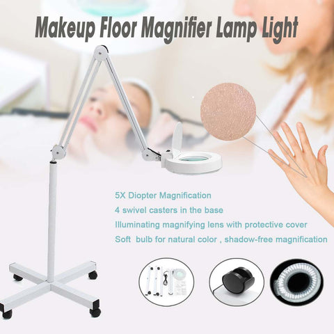 5x LED Lamp Light Makeup Floor Magnifier Skincare Beauty Manicure Tattoo Salon Spa For Medical Cosmetology UK US Plug Standard - ZURBEXPRESS