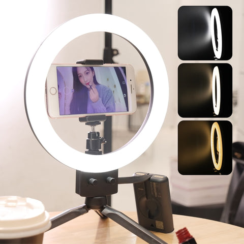 "9"" LED Ring Light 3200-5600K 80 LEDs Selfie Ring Lamp Photographic Lighting With Tripod Phone Holder USB Plug Photo Studio - ZURBEXPRESS"