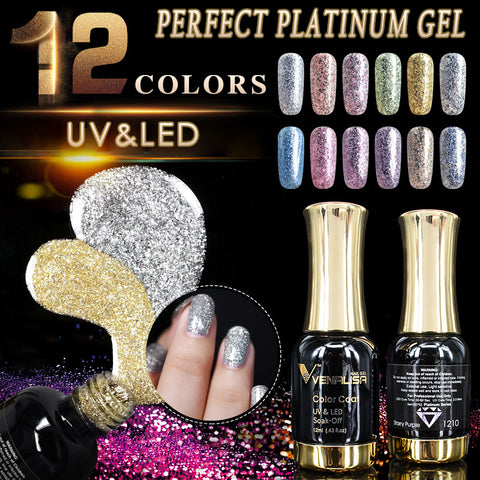 VENALISA Super Color Gel Paints Crystal Lacquer CANNI Nail Art Glitter Pearl Diamonds Soak off Platinum UV LED Gel Nail Polish - ZURBEXPRESS