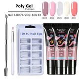 4pcs/kit Poly Gel Set LED Clear UV Gel Varnish Nail Polish Art Kit Quick Building For Nails Extensions Hard Jelly Gel Polygel - ZURBEXPRESS