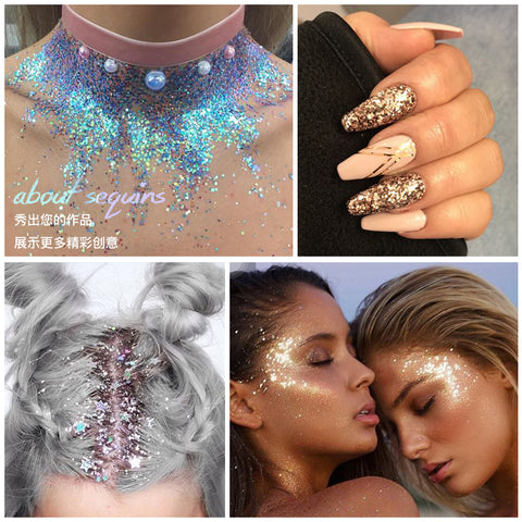 Festival Hair Glitter Nail Eye Face Body Glitter tinsel on Face Gel Art Flash Cosmetic Make-Up Sequins Cream Glitter Decoration - ZURBEXPRESS