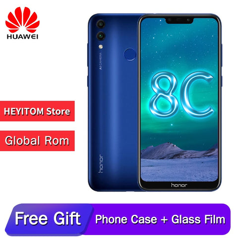 Original huawe honor 8C 6.26in facial recognition Snapdragon 632 Octa core front 8.0MP dual rear camera 4000mAh 3 cards slot