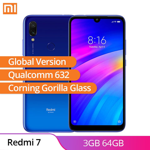 "Global Version Xiaomi Redmi 7 3GB 64GB Cell Phone Qualcomm 632 6.26"" WaterDrop Screen 3900mAh Fingerprint Sensor Smartphone - ZURBEXPRESS"