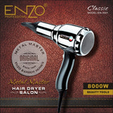 ENZO 8000W Metal body Salon Professional Hair Dryer Volumizer Negative Ion Blow Dryer Brush Hot/Cold With Air Collecting Nozzle - ZURBEXPRESS