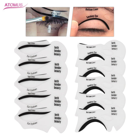 ATOMUS 10Pcs New DIY Reusable Auxiliary Eyeliner Card Eye Liner Accessories Makeup Beauty Kit Mold Drawing Guide Styling Shaping - ZURBEXPRESS
