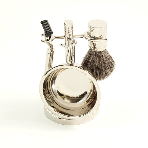 Chrome Shaving Kit with Badger Brush & Stand