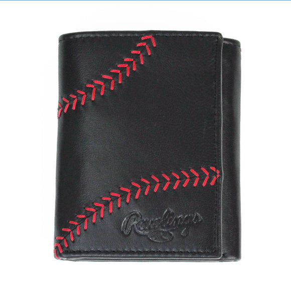 Black Baseball Stitch Trifold Wallet