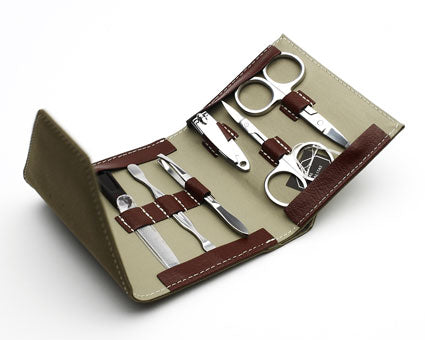 Brown Suede Manicure Set