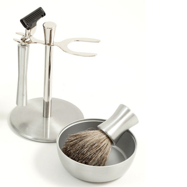 Stainless & Chrome Shaving Kit with Stand