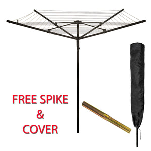 4 ARM ROTARY AIRER WITH SPIKE AND COVER BLACK