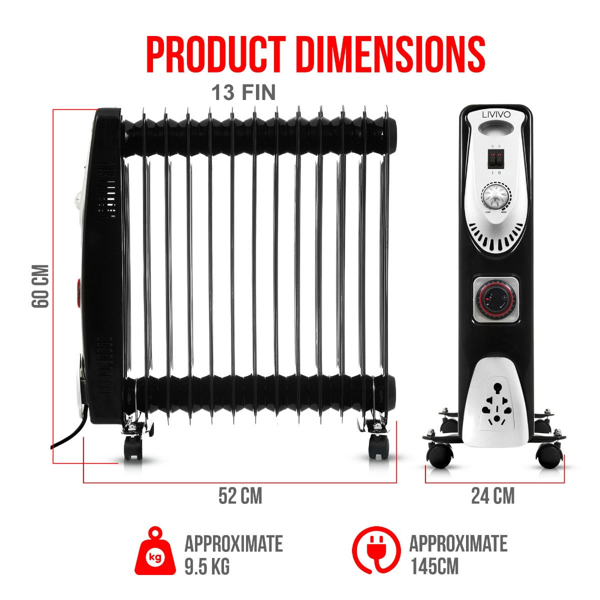 OIL FILLED RADIATOR WITH TIMER 7, 9, 11 AND 13 FIN