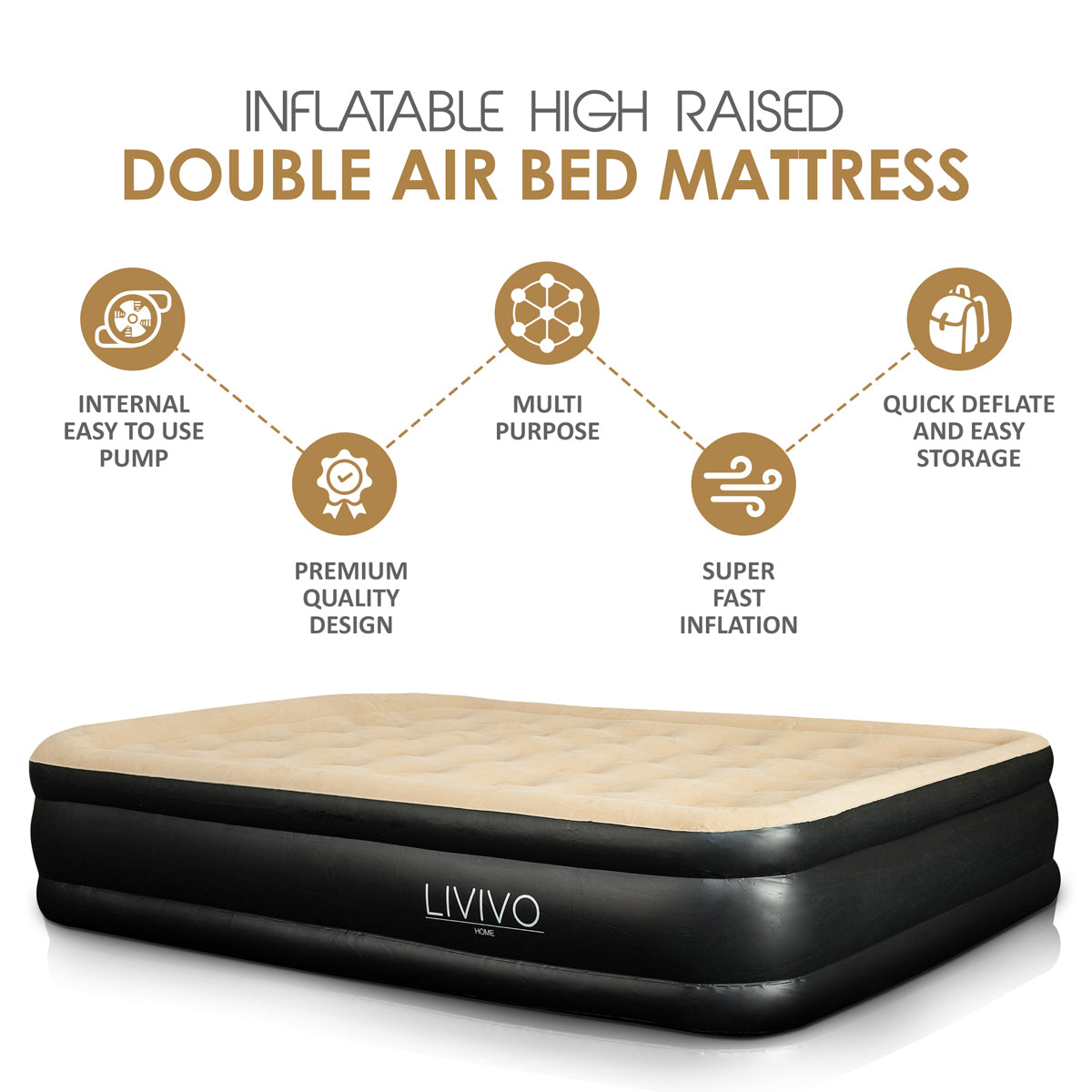LIVIVO DOUBLE HIGH RAISED AIR BED
