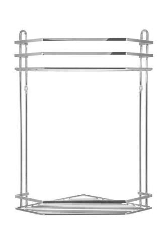 2 TIER CHROME CORNER BATHROOM CADDY