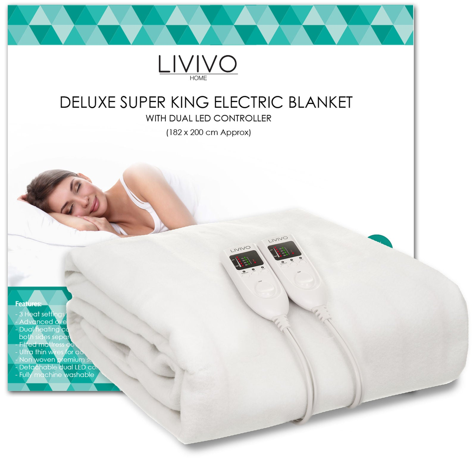 DELUXE ELECTRIC BLANKET WITH DUAL LED CONTROLLER