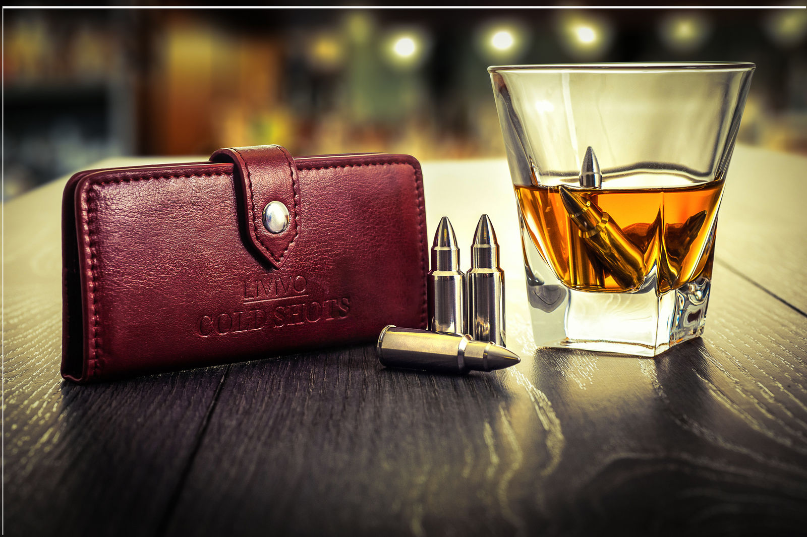 WHISKY S/S BULLETS IN LEATHER POUCH