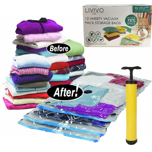 12 VARIETY VACUUM PACK BAGS (WITH PUMP)